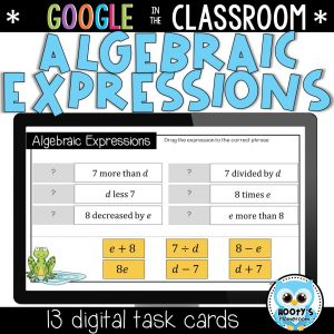 sample activities from understanding algebraic expressions using google slides