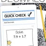 sample question from adding decimals quick check using google forms