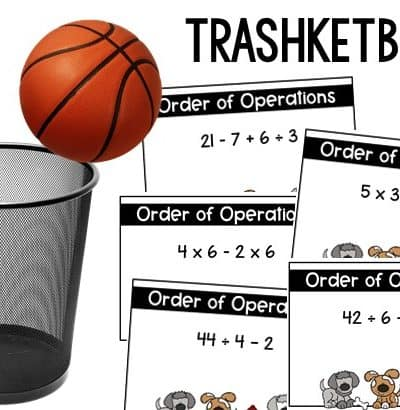 trashketball test review game using task cards