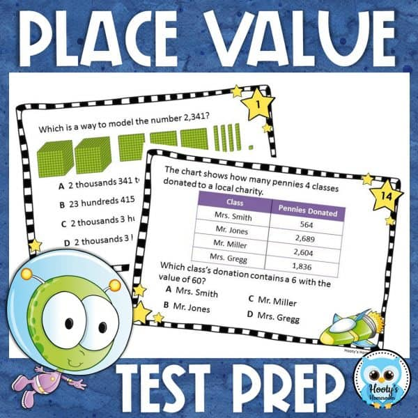 place value test prep task cards