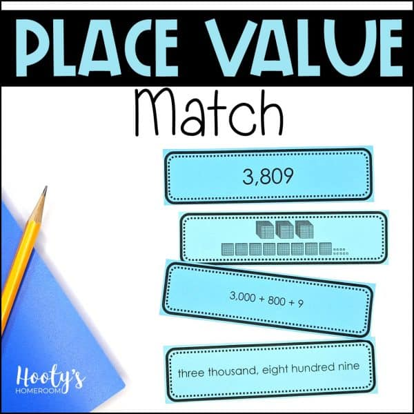 place value of larger numbers matching activities