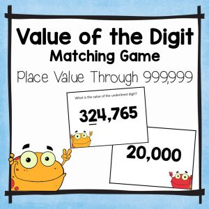 value of the underlined digit place value matching activities