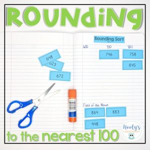 rounding to the nearest 100 sorting activity in math journal