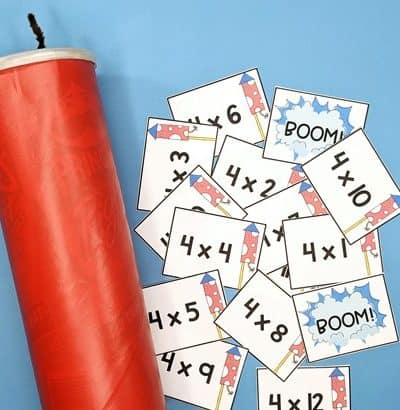 fact fluency cards with storage can decorated to look like dynomite