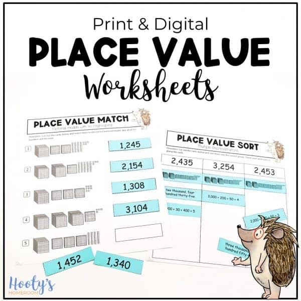 pritn and digital place value worksheets