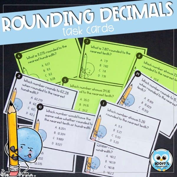 rounding decimals task cards shown in color and ink friendly versions