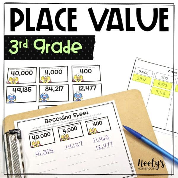 value of the digit place value sorting activities