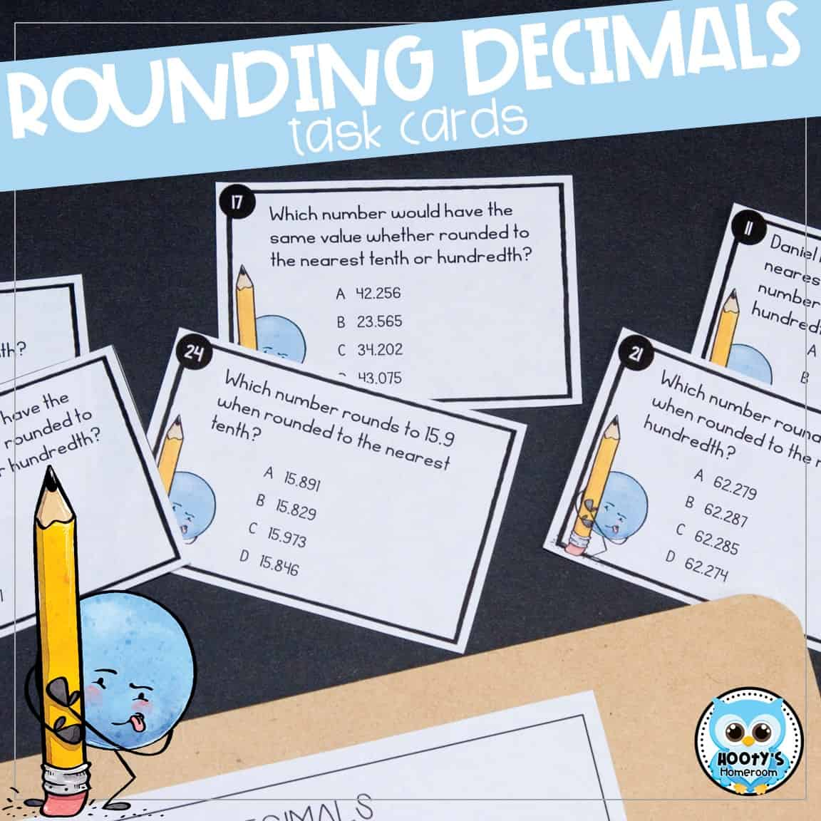 Rounding Decimals Print and Digital Task Cards | Hooty's ...