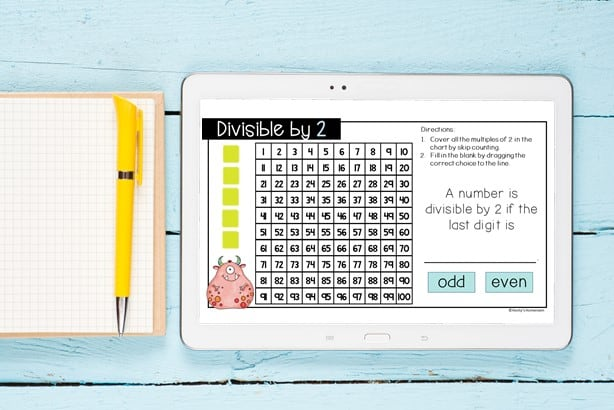 divisible by 2 hundreds chart digital activity shown on tablet