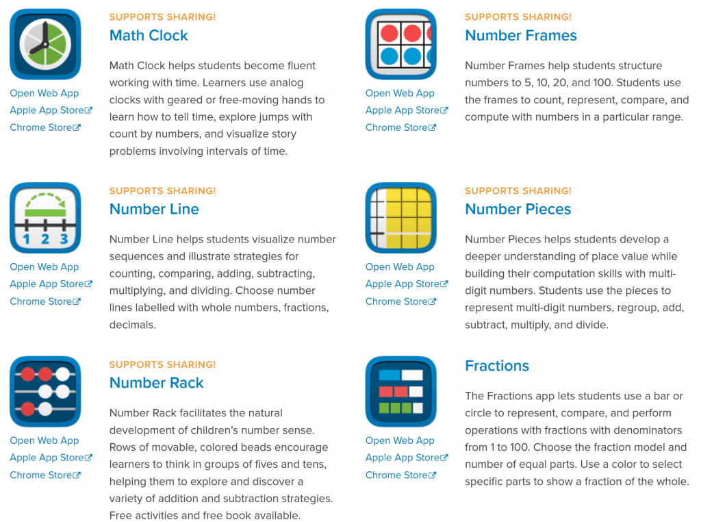 the math learning center's virtual manipulatives