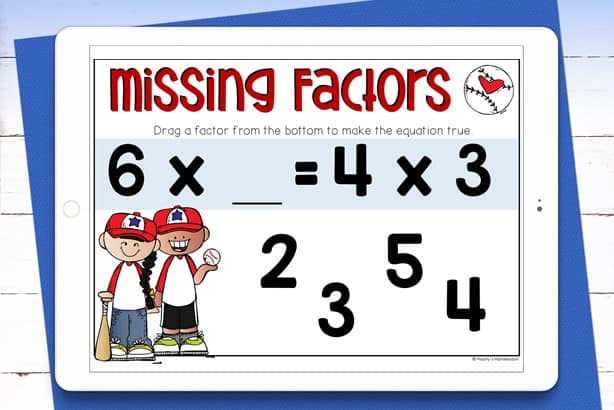 missing factors boom cards used on tablet