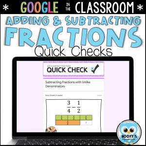 adding and subtracting decimals Google Forms activity on laptop