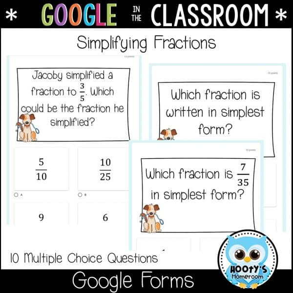 exampple questions for simplying fractions