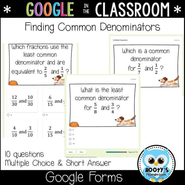 finding common denominators sample Google Forms questions