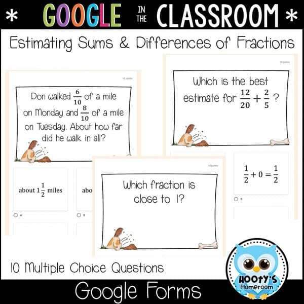 estimaing sums and differences using Google Forms sample questions