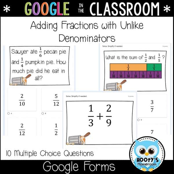 adding fractions with unlike denominators using Google Forms sample questions
