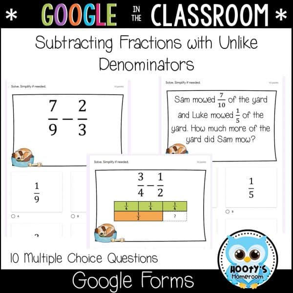subtracting fractions using Google Forms sample questions