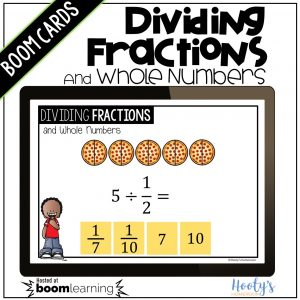dividing unit fractions and whole numbers boom cards sample problem