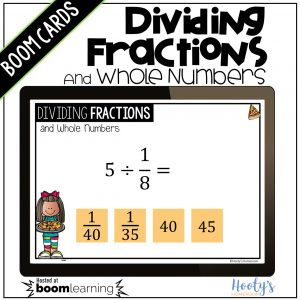 dividing unit fractions and whole numbers sample question on computer