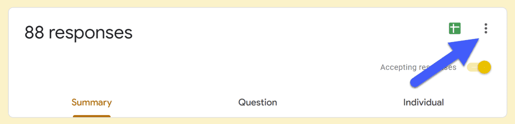 set google forms notifications by clicking on the 3 dots on the right side of the dashboard