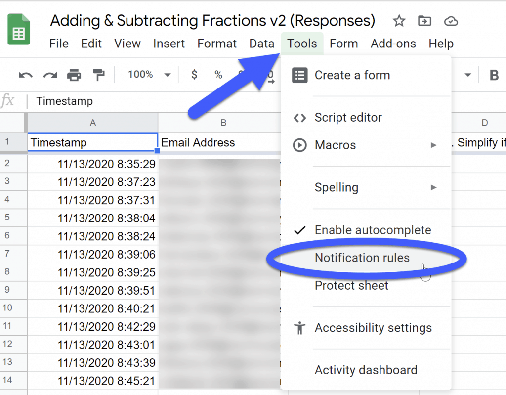 go to tools and select notification rules in google sheets