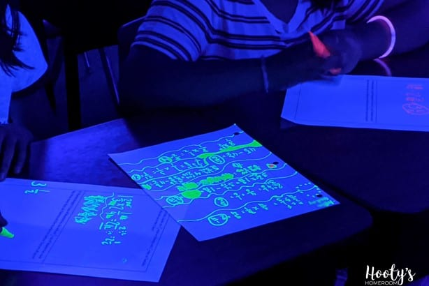 student work sample during black light math