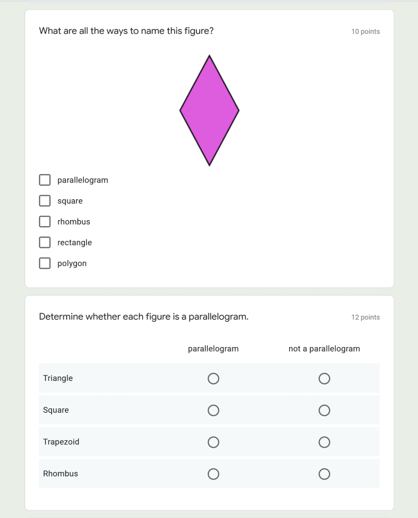 sample question types available in google forms
