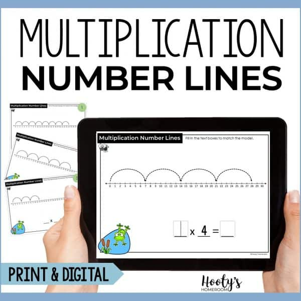 multiplication number lines boom cards and print task cards
